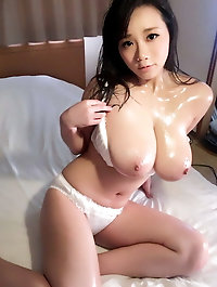 Blonde chinese female takes off hot bra